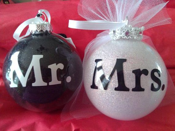 "Personalized Glass Glittered Ornaments 4"" Wedding Bridel His Hers Mr. & Mrs Christmas G on Luulla"