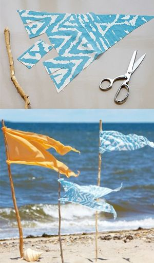 Meeting friends for a seaside picnic? Make it easy for them to spot you with a stick or small branch and a few pieces of summery fabric. We have the how-to here: https://www.onekingslane.com/live-love-home/2012/07/beach-flag-markers/