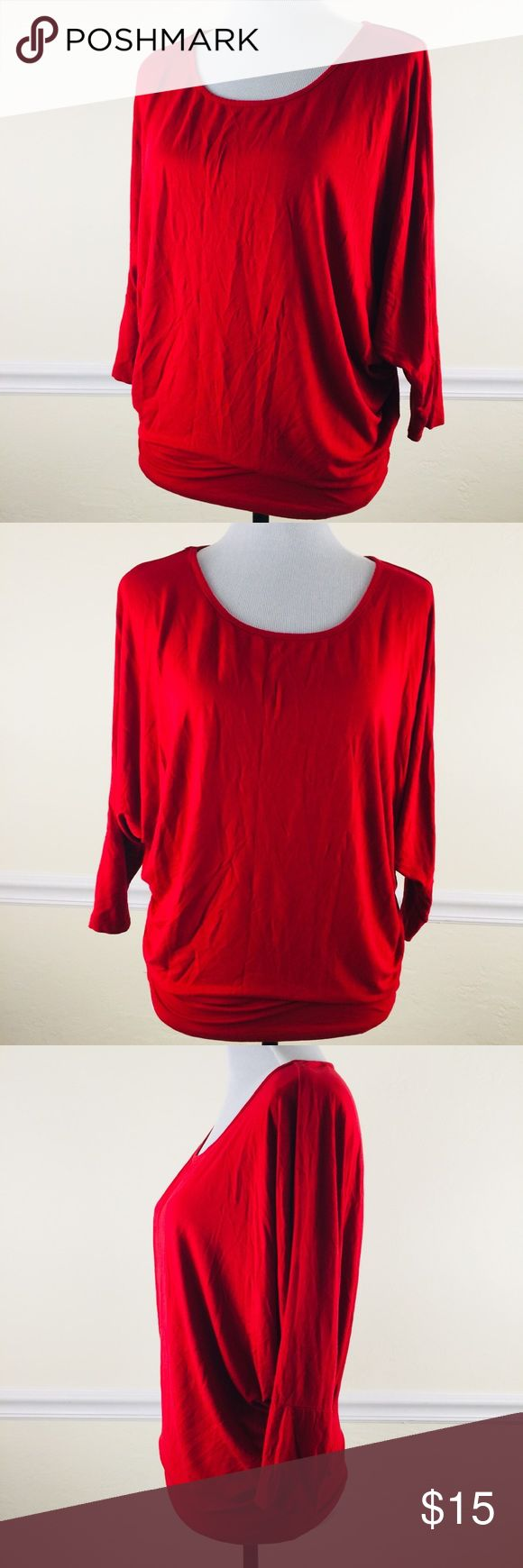Miroa Red Top Batwing Sleeve Blouse Gently used and has no flaws  Size: Petite/Small miroa Tops Blouses