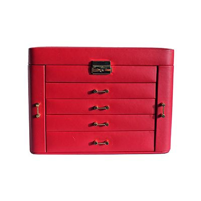 Mele & Co Ladies Red Large Leather Jewellery Box with Travel Case - RRP: £130, our price: £59.99