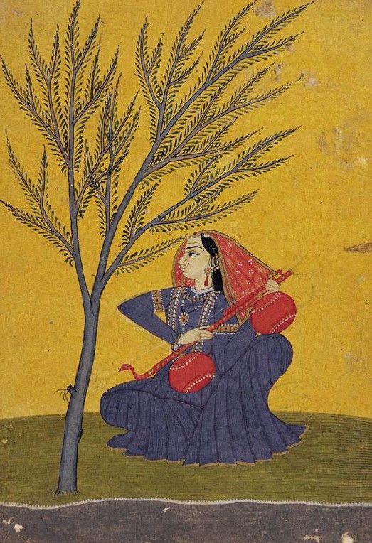 Ragamala series, Kulu. India ca. 1765, Gujari Ragini plays rudra