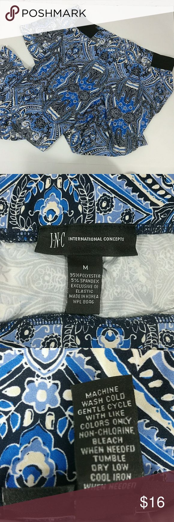 """INC International Concepts pants NWOT NWOT cute boho chic blue, black and white paisley print, elastic waist pants. 14.5"""" across waist, 28"""" inseam, 9.5"""" rise, 10.5"""" across bottom. Wide leg bottom. All measurements are approximate and taken while laying flat. Please ask questions prior to purchase.n INC International Concepts Pants Wide Leg"""
