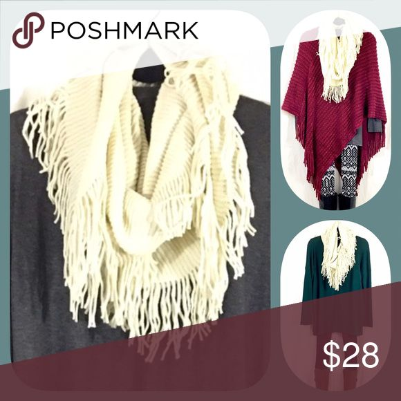 Ivory Fringe Infinity Scarf BOUTIQUE ✅Not thin. So warm, stylish, and cozy!  ✅One size fits all ✅I stock other items (like tunics, ponchos, and leggings) that complement each other --- go take a look!  ✅Price firm, BUT... ✅Want 15% off AND a free gift? Bundle 3+ items!  ✅Check out my other warm scarves! Happy Poshing! Accessories Scarves & Wraps