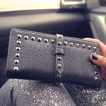 Women Wallet Fashion Rivet Women Purse PU Materials Long Style Clutches Free Shipping(China (Mainland))