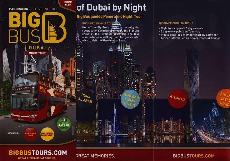 https://flic.kr/p/D8QyaS | Big Bus Dubai Night Tour; 2015_1, map, UAE | tourism travel brochure | by worldtravellib World Travel library