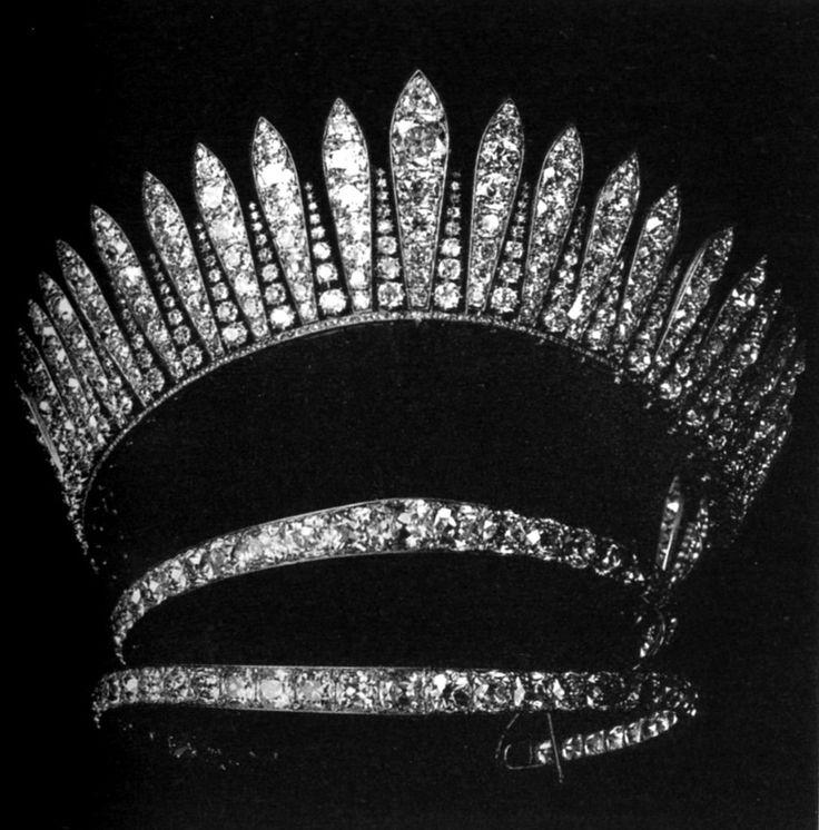 """""""Empress Eugenie's fringe tiara"""" """"Romanov family tiara"""" """"Greek family tiara""""  Does anyone know the history of these pieces?"""