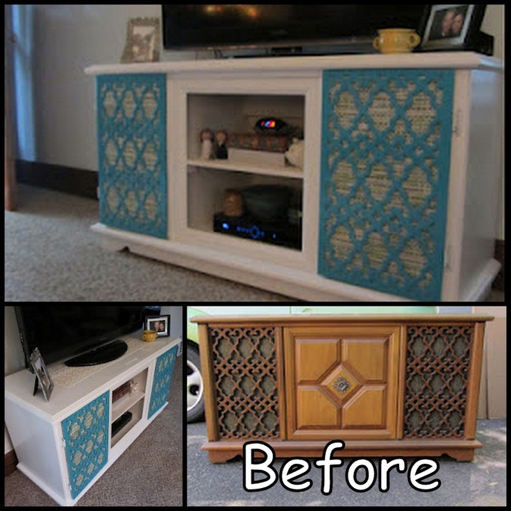 Cowie's Craft & Cooking Corner: Old Record Player Cabinet Into TV Stand