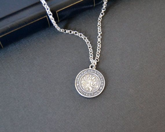 St Christopher Necklace Saint Christopher Sterling by LayeredLong