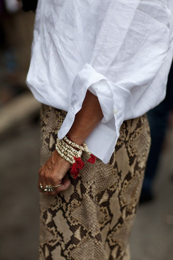 classic linen white shirt + animal pattern + ethnic bracelets. classy meets chic