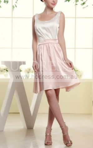 A-line Scoop Knee-length Satin Natural Wedding Dresses gt3456--Hodress