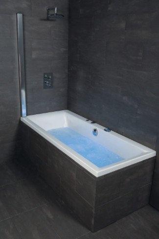 Outasight - Foldaway Over Bath Shower Screen (Chrome)  Price : £176.00 http://www.showeringforall.com/Outasight-Foldaway-Shower-Screen-Chrome/dp/B0091440PW