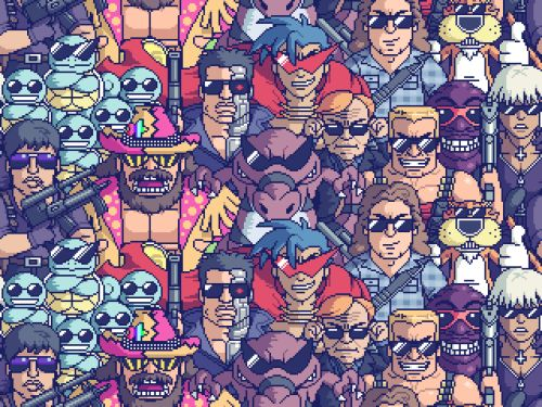 "tinycartridge: ""Macho Man"" Randy Savage, Duke Nukem, a gang of Squirtles, Cobra, and other sunglasses-wearing badasses pixelart-ized by Paul Robertson"
