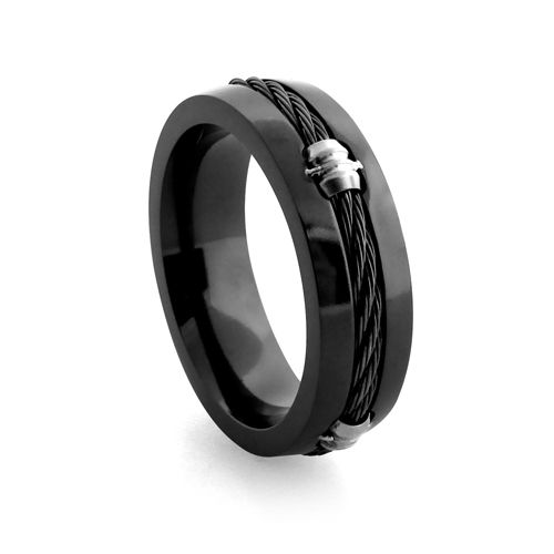 Zales Midnight Cable By Edward Mirell Mens Two Tone Titanium Wedding Band