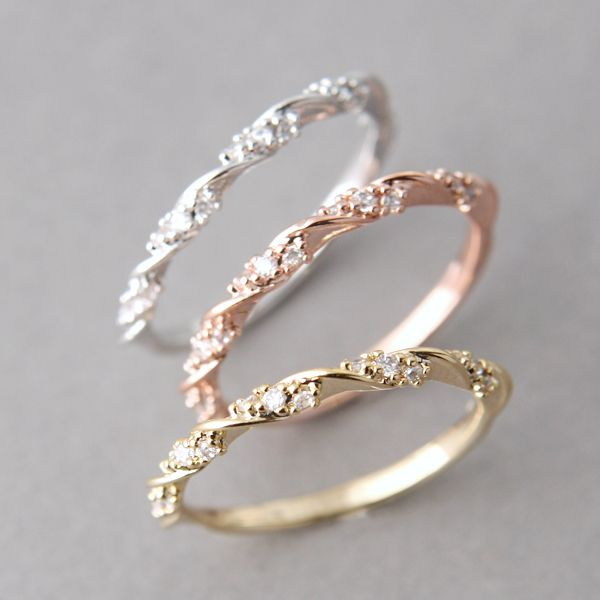 Simple CZ ELEGANT SINGLE RIBBON RING GOLD STACKING RING ENGAGEMENT by kellinsilver jewelry