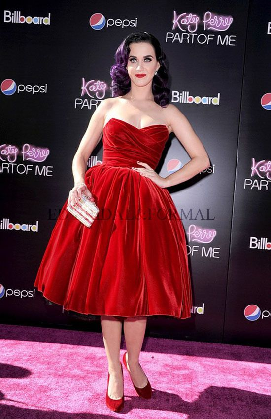 Katy Perry Dress Velvet Red Vintage Ball Gown Cocktail Dress Part of Me 3D Premiere