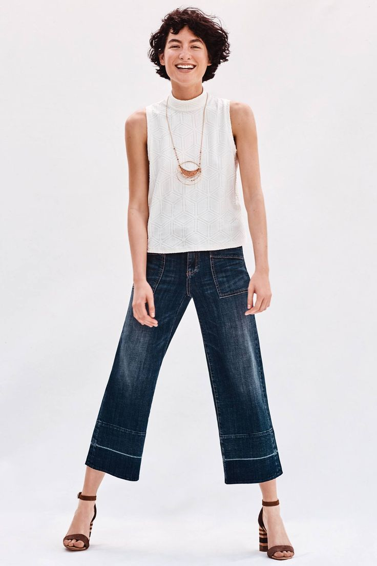 Pilcro Wide-Leg Mid-Rise Crop Jeans - anthropologie.com
