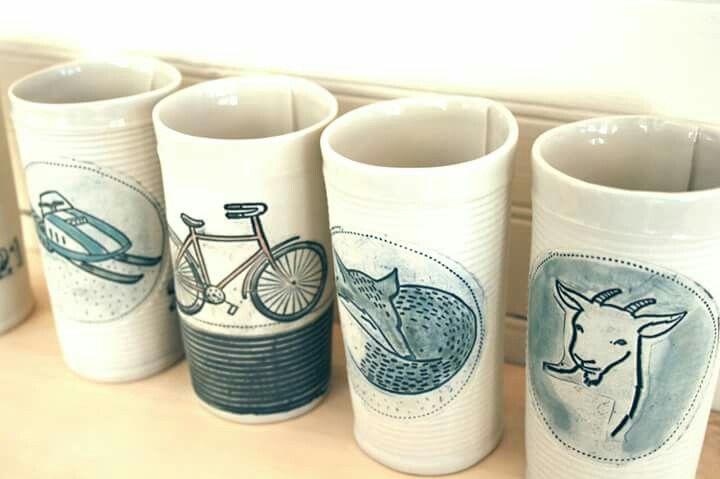 "Grands gobelets ""tumblers"" illustrés_KG céramique"