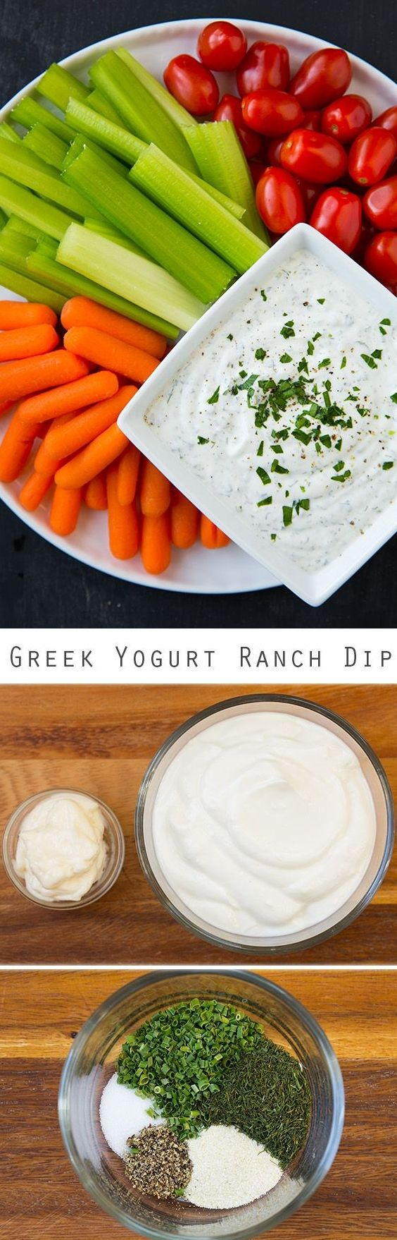 Lighter Greek Yogurt Ranch Dip. This is much lighter than a ranch dip but tastes equally as good if not better! It's my new favorite veggie dip!!