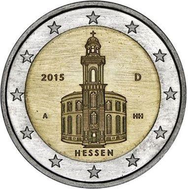 """Moneta Celebrativa Hessen: """"Chiesa di San Paolo a Francoforte"""" Anno: 2015 Stato: Germania"""