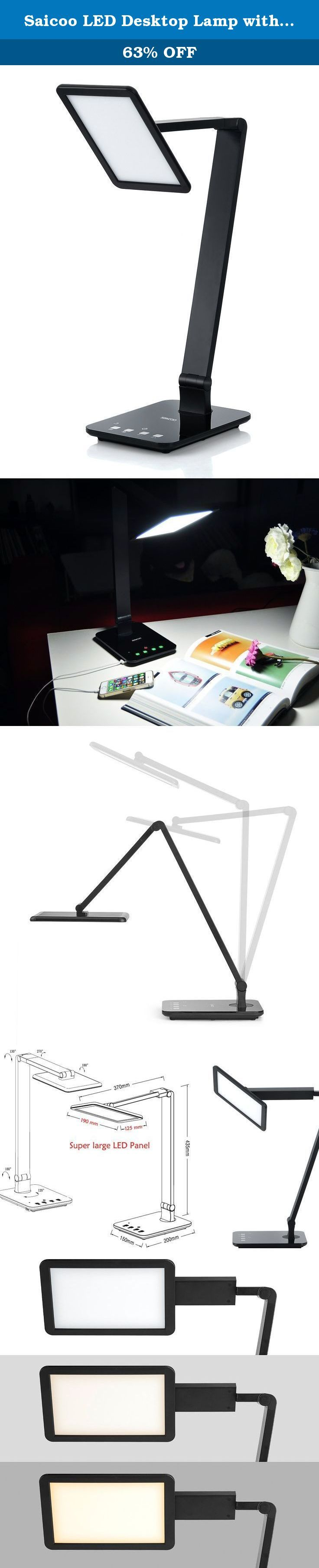 Saicoo LED Desktop Lamp with Large LED Panel, Seamless Dimming-Control of Brightness and Color Temperature, An USB Charging Port. An LED lamp accompanies you from day to night, work to sleep. Apply to All Scenes Color temperature covers cold (5500K-6500K), natural(4300K-5300K), warm (2700K-3300K)color, ideal for working, reading, relax respectively. Sleep light triggered by an independent switch renders dim light for the night. Memory setting keeps operations you have done last time…