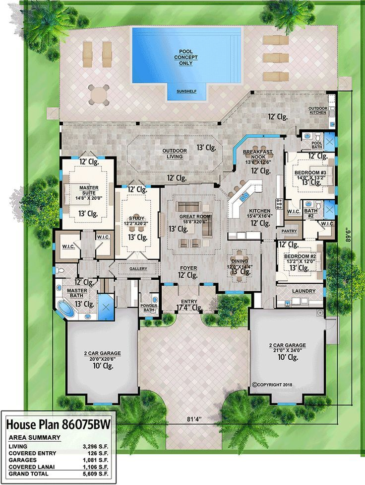 Plan 86075bw Stunning 3 Bed Contemporary One Story House Plan With Outdoor Kitchen Mediterranean Style House Plans Mediterranean Homes Florida House Plans