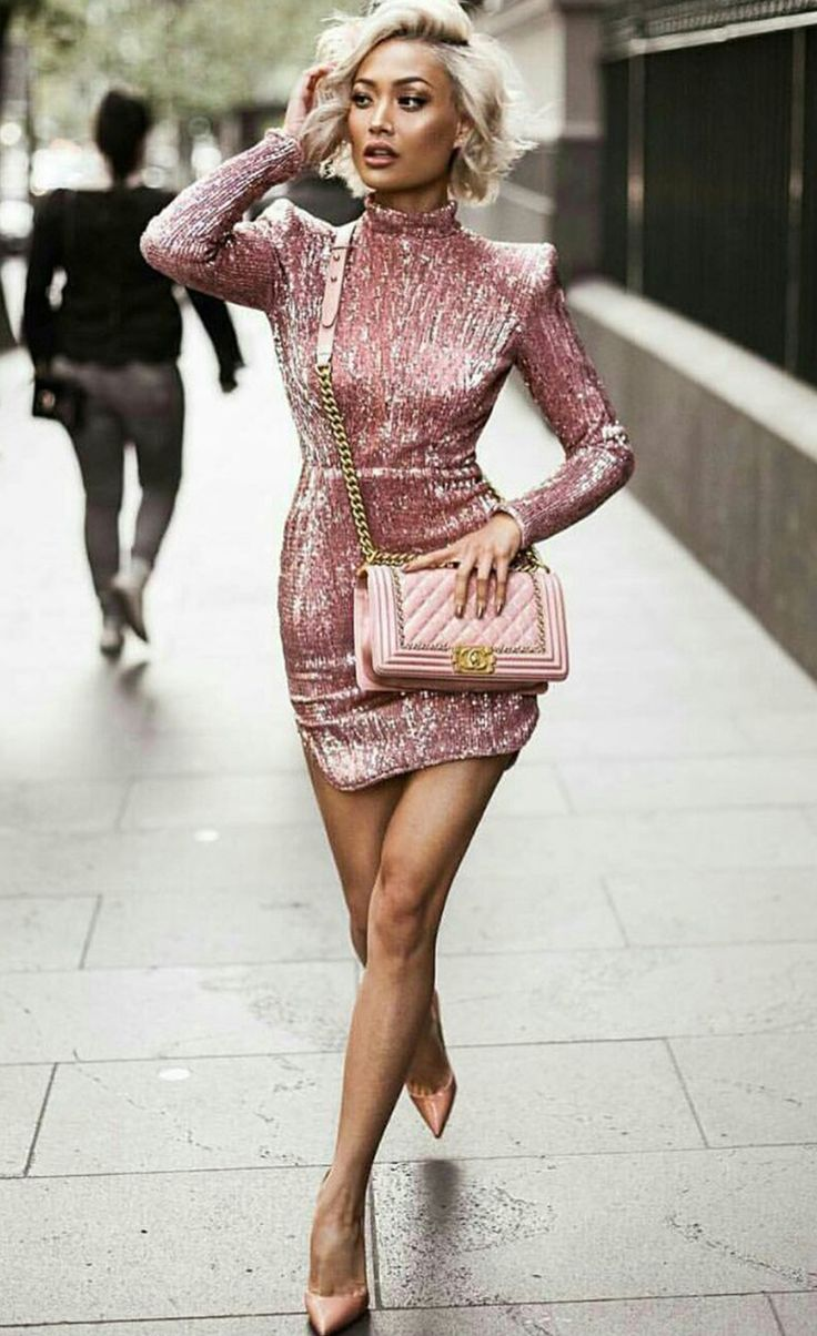 $99.99 Long Sleeve High-Necked Shoulder Pads Sequin Dress