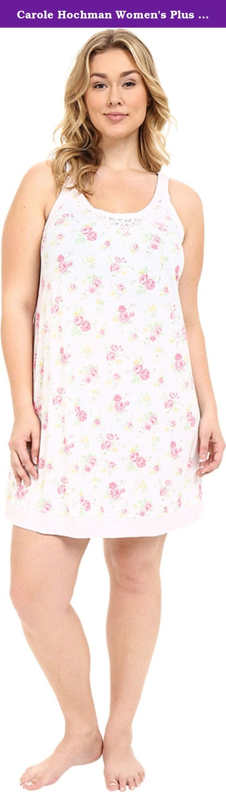 Carole Hochman Women's Plus Size Floral Chemise Rose Meadow Nightgown 1X. Relaxed silhouette. Flaunts a soft cotton fabrication with a lovely floral pattern all throughout for a classic feminine look. Lace detail at Scoop neckline creates a flirty look. Fixed shoulder straps. Straight hemline. Slip-on. 100% cotton. Machine wash cold, tumble dry low.