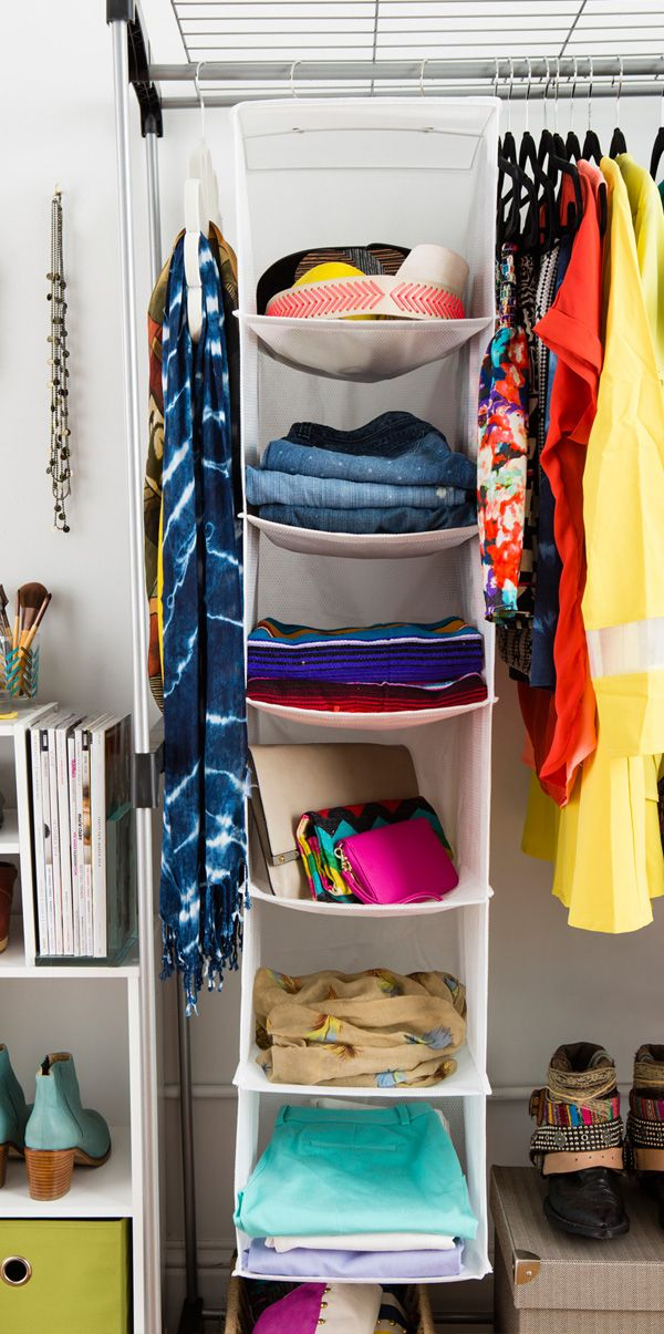 Use A Hanging Shelf To Organize Sweaters, Clutches, Etc. (instead Of Stacks  At The Top Of The Closet)