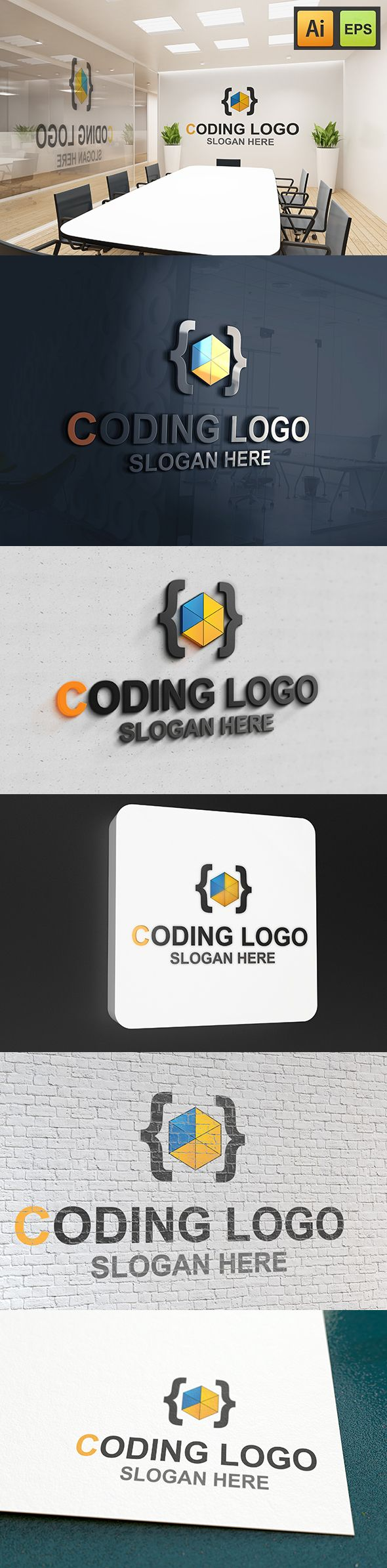 """@Behance projeme göz atın: """"Coding Logo""""…"""