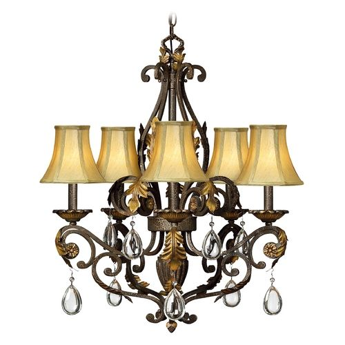 Hinkley Lighting Crystal Chandelier with Brown Shades in Summerstone Finish | 4806SU | Destination Lighting