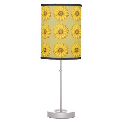 Nice Yellow Flowers Desktop Lamp home gifts ideas decor special unique custom individual customized individualized