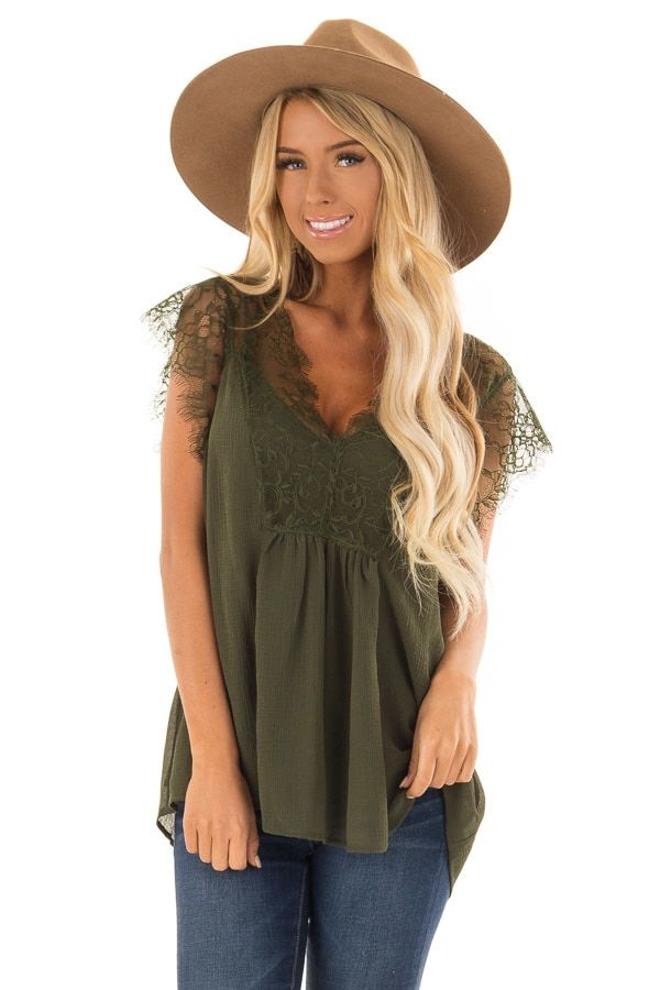 e6075f0388 Olive V Neck Top with Short Lace Sleeves front closeup