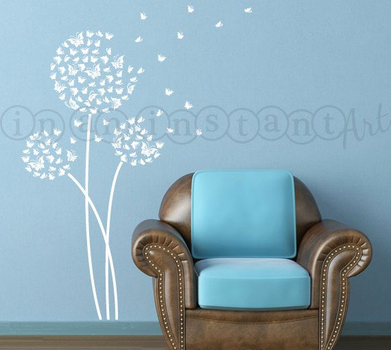 Dandelion Wall Decal, Butterfly Dandelion Wall Decal with Flying Butterflies for Nursery, Living Room, Kid or Childrens Rooms 034 on Etsy, $24.00