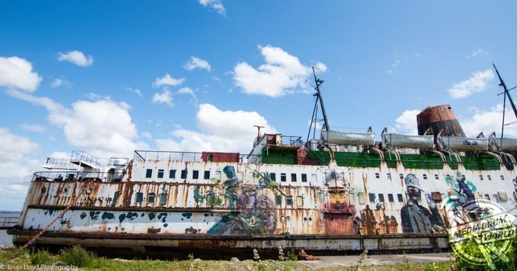 Abandoned Duke of Lancaster Aerials. The spectacular images were taken at the TSS Duke of Lancaster on the River Dee, near Mostyn, North Wales by contract manager, Brian Lloyd (35) from Liverpool. To take the amazing photographs, Brian used a DJI Phantom 3 Standard drone and a Nikon D7000.