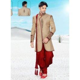 Spectacular Beige Colored Embroidered Silk Indo Western Sherwani 1113