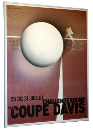 Coupe Davis Cup Vintage Tennis Tournament Poster 1980 French Art Deco  | eBay
