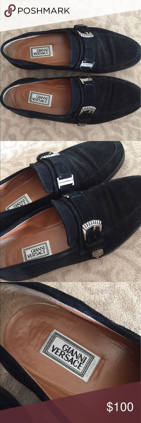 """Gianni Versace men's suede loafers Really good pre owned condition men's suede loafers. In Versace size 6.5. Good condition, gently worn. Medusa logo and buckle detailing on the front of the show. """"Made in Italy"""" hot stamp on the inside. Black suede material. Versace Shoes Loafers & Slip-Ons"""