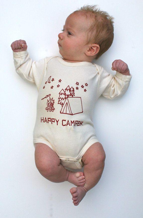 Happy Camper Organic Baby Bodysuit Natural SHORT door GrowingUpWild