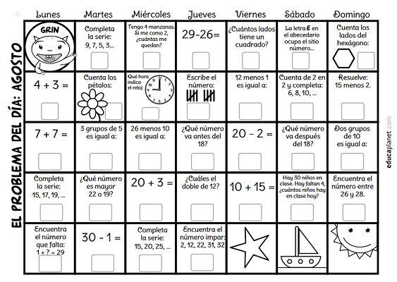 Calendario con problemas diarios agosto es una ficha para imprimir y resolver mini problemas de matemáticas día a día de sumas y restas.