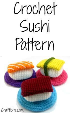 These crochet sushi would make great refrigerator magnets! Pattern and tutorial by Craft Bits.