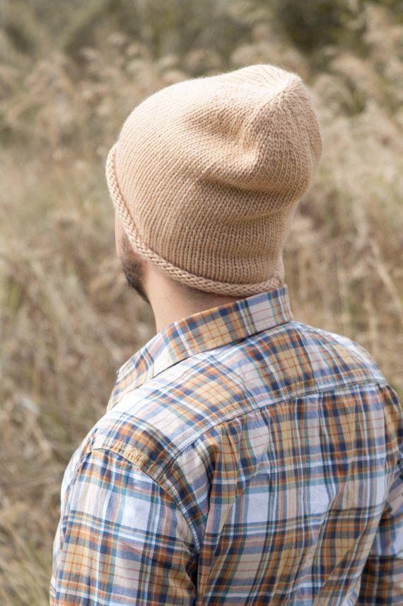 671c9ea0f4a Wool winter hat men knitted beanie hat beige slouchy beanie men wool hat  women winter beanie winter knit hat organic merino hat roll brim