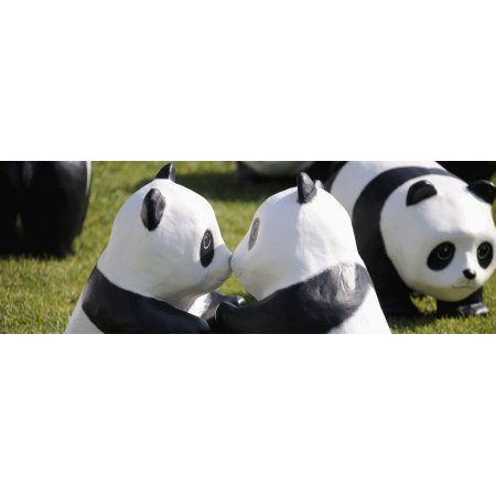 Paper made pandas from World Wildlife Federation at art exhibition Seoul City Hall Seoul South Korea Canvas Art - Panoramic Images (26 x 9)