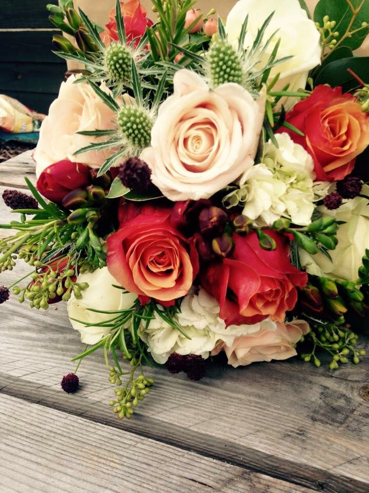 Autumnal rustic wedding bouquet