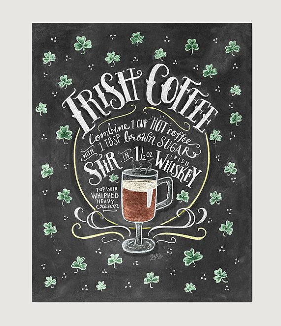 Irish Coffee Recipe - Recipe Print - Irish Coffee Art - Recipe Art - Kitchen Decor - Irish Gifts - St Patrick's Day
