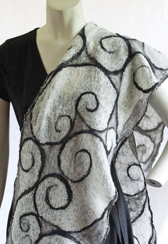 Nuno Felted Scarf, wool scarf, black and white scarf, lightweight Spring scarf, summer wrap