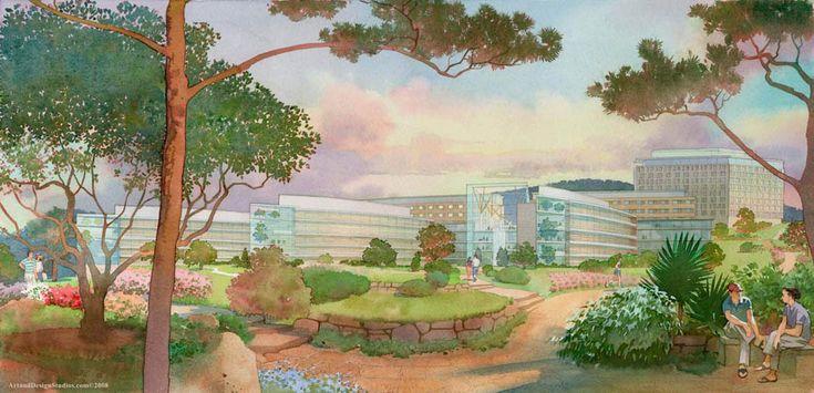 architectural illustration - hospital landscape