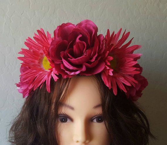 Pink Rose and Sunflower Floral Crown, Flower Halo Headpiece, Adjustable Headband, Boho Chic, Festival Fashion https://www.etsy.com/listing/458481786/pink-rose-and-sunflower-floral-crown