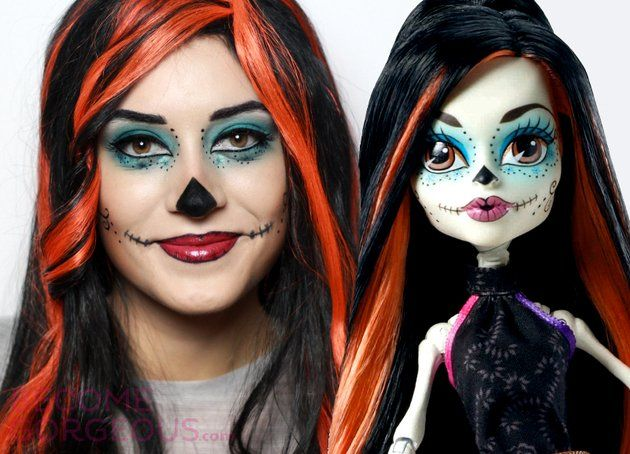 skelita calaveras monster high makeup tutorial for halloween - Skelita Calaveras Halloween Costume