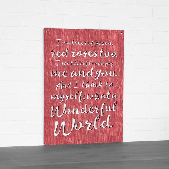 I Think To Myself What A Wonderful World Carved Wood Wall Art Song