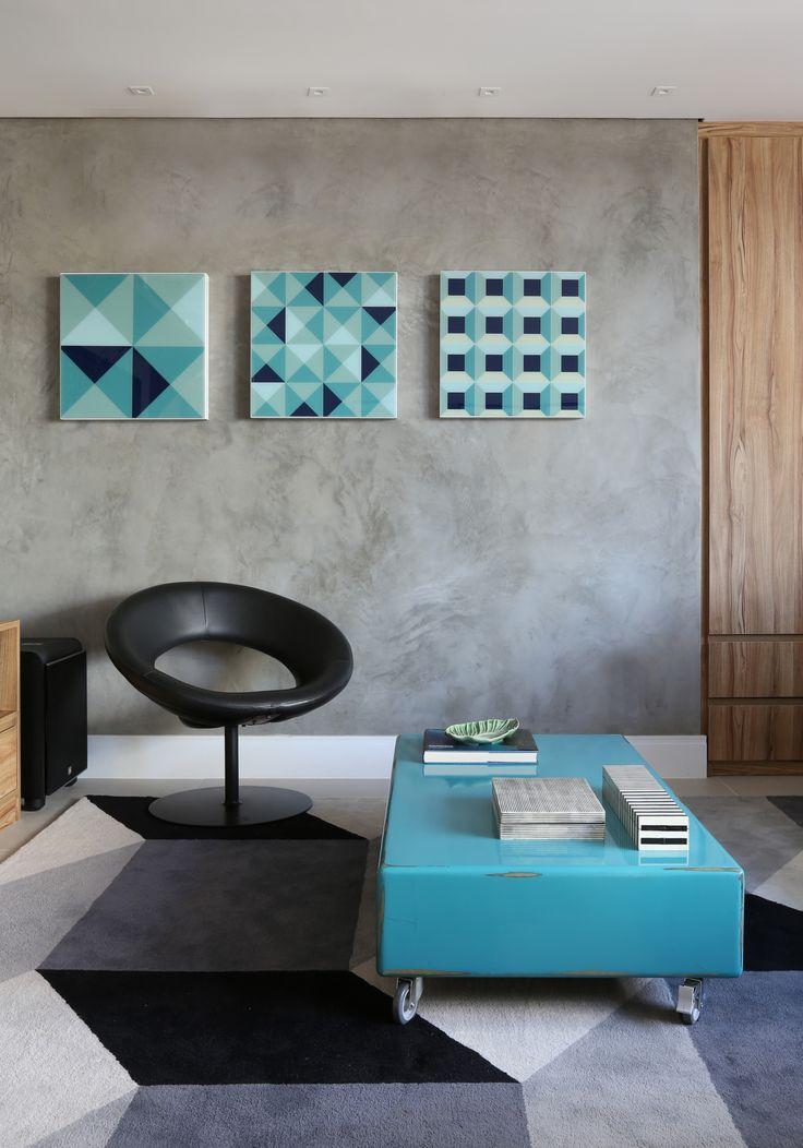 Cobertura Pinheiros / Mandril Arquitetura #living #decor #graphic #geometric #grey #black #turquoise #cement #cimentoqueimado #puntoefilo